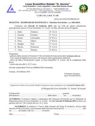 circolare olimpiadi matematica - Liceo Scientifico Statale