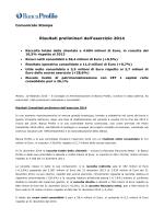Risultati preliminari dell`esercizio 2014
