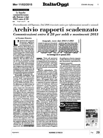 2015 02 11 .. Il Fisco Completa l`Anagrafe dei Conti Correnti