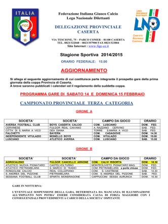 aggiornamento programma gare del 14-15 feb. 2015 - FIGC