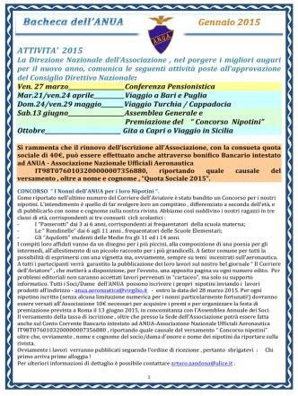Bacheca Gennaio 2015 (1) - ANUA Associazione Nazionale