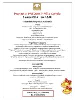 Pranzo di PASQUA in Villa Cariola 5 aprile 2015 – ore 12.30 Gran