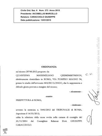 Corte di Cassazione, Ordinanza n. 373 del 13