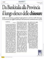 Da Bankitalia alla Provincia il lungo elenco delle chiusure