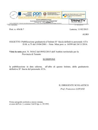 Decreto pubblicazione graduatorie II fascia ATA