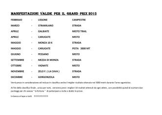 Calendario Gran Prix 2015