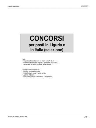 CONCORSI - Regione Liguria