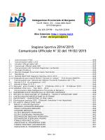Comunicato Ufficiale N°32 del 19/02/2015