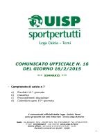 COMUNICATO UFFICIALE N. 16 DEL GIORNO 16/2/2015