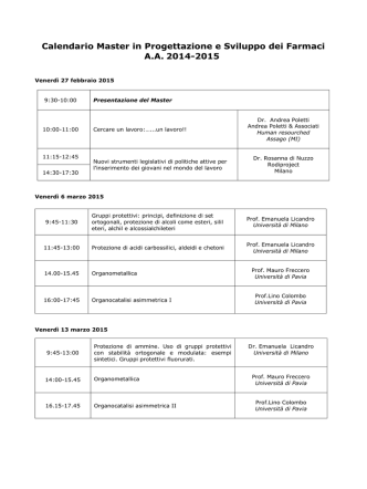 Calendario Master in Progettazione e Sviluppo dei Farmaci AA 2014