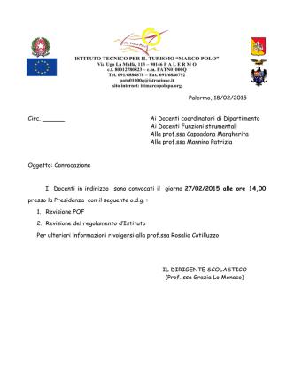 Convocazione del 27-02-2015 - revisione POF