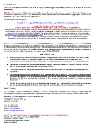 Aggiornamento del 25 febbraio 2015 - Consolato Generale d`Italia a