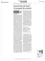 28 gennaio SOLE 24 ORE. Geotermia, fermati 31 progetti di centrali