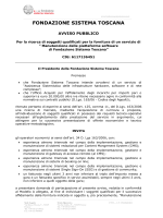 Avviso di Gara - Fondazione Sistema Toscana