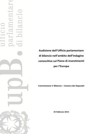Audizione dell`Ufficio parlamentare di bilancio nell`ambito dell