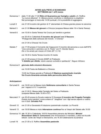 AVVISI della PIEVE di SCANDIANO SETTIMANA dal 1 all`8 marzo