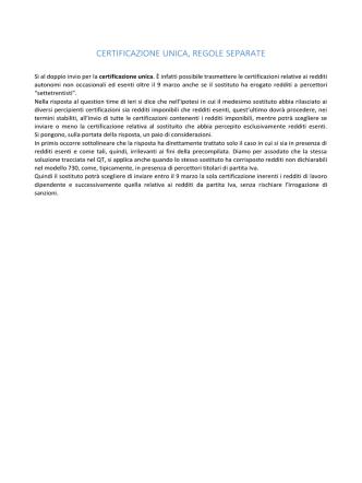 26/02/2015 - Certificazione unica, regole separate