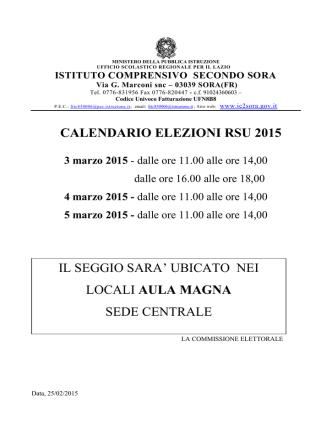 CALENDARIO ELEZIONI RSU 2015 IL SEGGIO SARA` UBICATO