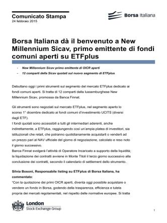 Borsa Italiana dà il benvenuto a New Millennium Sicav, primo