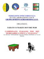 Biliardo a Stecca ITALIANA 2015