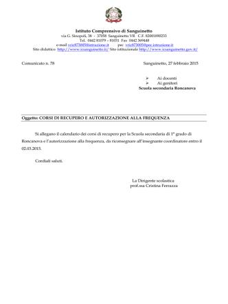 Comunicato n. 78 - Istituto Comprensivo di Sanguinetto