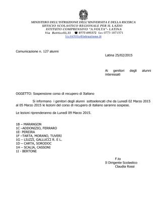 Comunicazione n. 127 alunni Latina 25/02/2015 Ai genitori degli