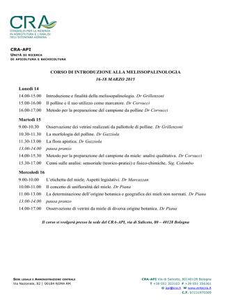 CORSO DI INTRODUZIONE ALLA - CRA-API
