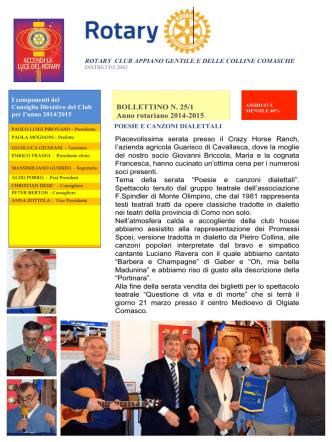 BOLLETTINO N. 25/1 Anno rotariano 2014-2015