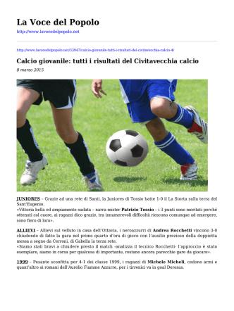 Calcio giovanile: tutti i risultati del Civitavecchia calcio