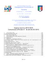 Comunicato Ufficiale N° 36 del 05/03/2015