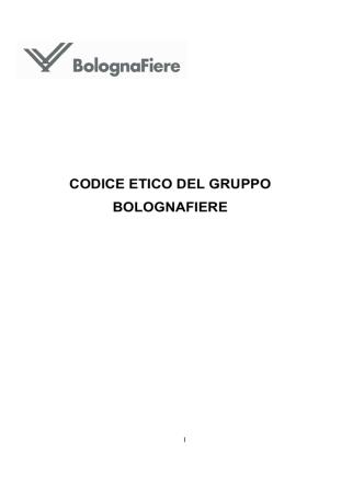 CODICE ETICO DEL GRUPPO BOLOGNAFIERE
