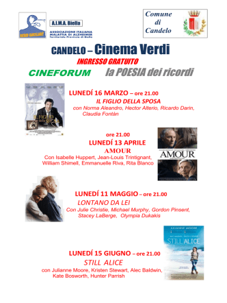 CINEFORUM laPOESIAdei ricordi