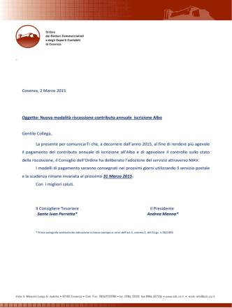 Cosenza, 2 Marzo 2015 Oggetto: Nuova modalità riscossione