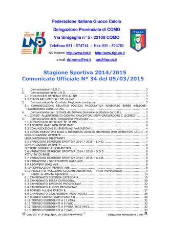Comunicato ufficiale N.34