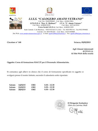 Circolare n. 168 del 5-03-2015 Corso di formazione HACCP