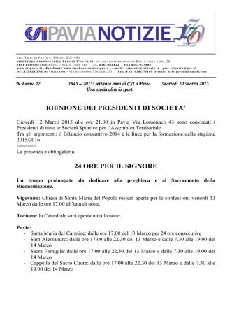 comunicato nr.9 del 10/03/2015