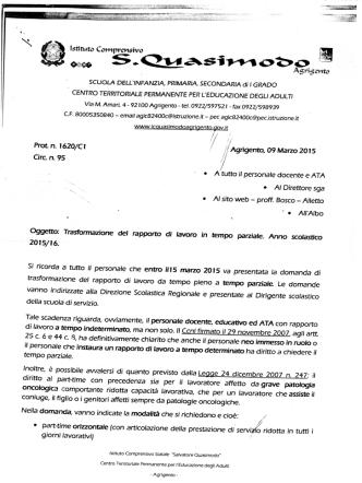 Circolare n. 95 - Centro Territoriale Permanente di Agrigento