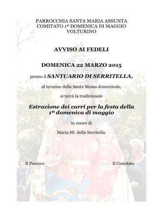 AVVISO Sorteggio carri 2015
