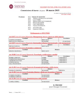 Commissione di laurea del giorno 18 marzo 2015