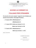 AVVISO AI CORSISTI DI ITALIANO PER STRANIERI Si comunica