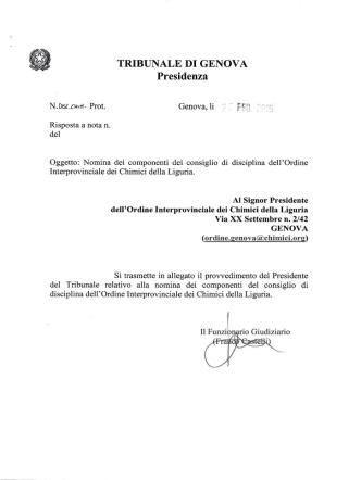 Delibera Consiglio di Disciplina - Ordine dei Chimici della Liguria