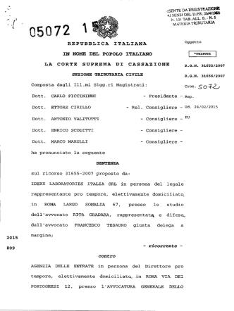 Corte di Cassazione, sez. trib., sentenza 13/03/2015, n. 5072