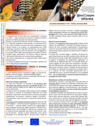 Circolare informativa n° 04 - Torino, 19 marzo 2015 PAPA