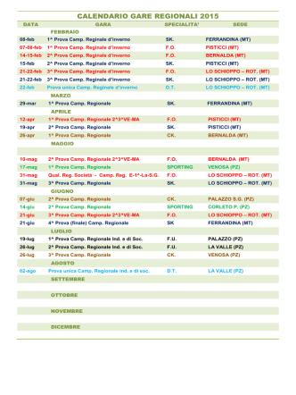 CALENDARIO GARE REGIONALI 2015