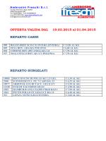 OFFERTA VALIDA DAL 19.03.2015 al 01.04.2015 REPARTO