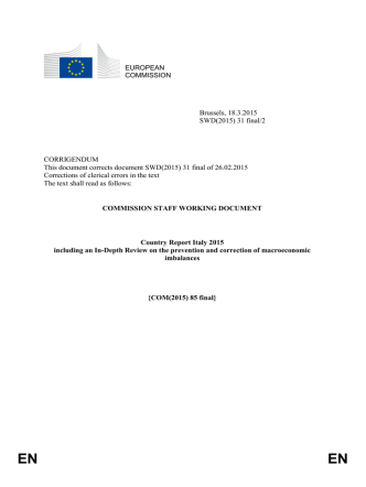 Country report for Italy - European Commission