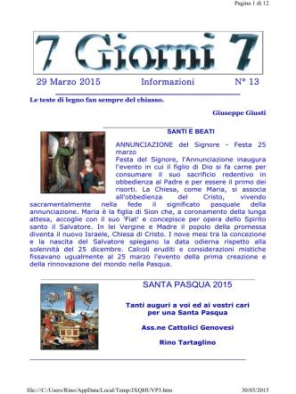 22 Marzo 2015 Informazioni N° 12 - Associazione Cattolici Genovesi