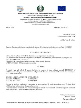 decreto pubblicazione graduatorie interne 2014_2015