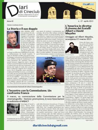 Clicca qui: Diari di Cineclub n. 27 Aprile 2015