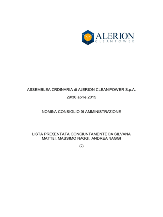 ASSEMBLEA ORDINARIA di ALERION CLEAN POWER SpA 29/30